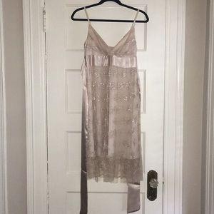 Necessary Objects Juniors Lace/Satiny Tie Dress